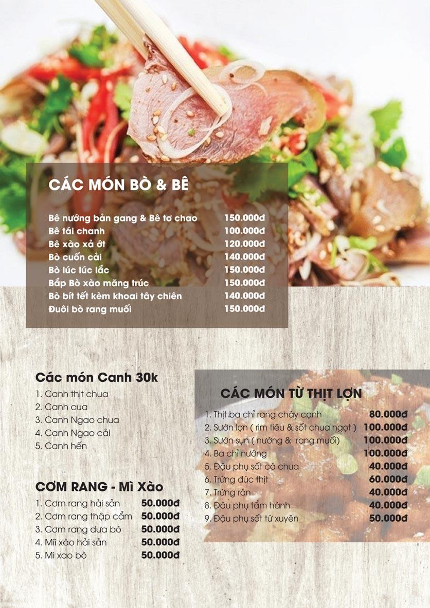 Menu Thảo Nguyên Xanh Restaurant - Võ Nguyên Giáp 4