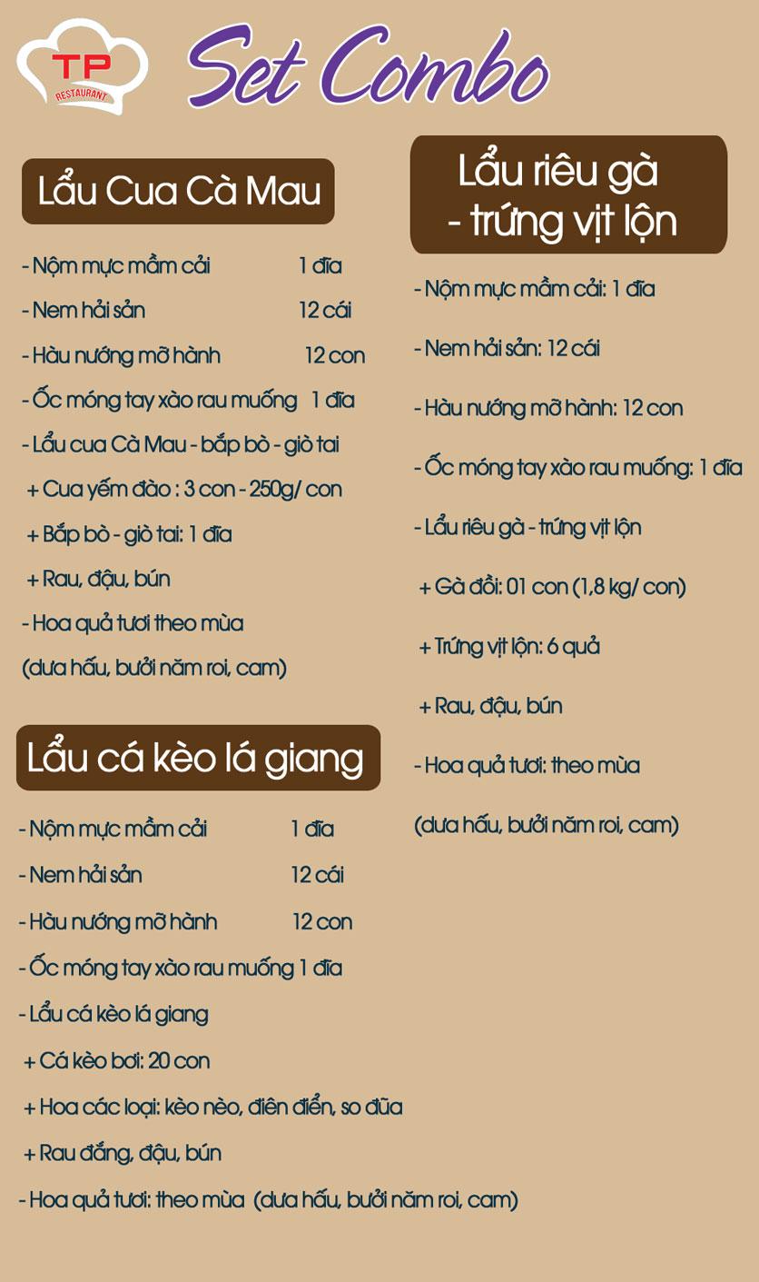 Menu Thiên Phú - KĐT Văn Phú 1