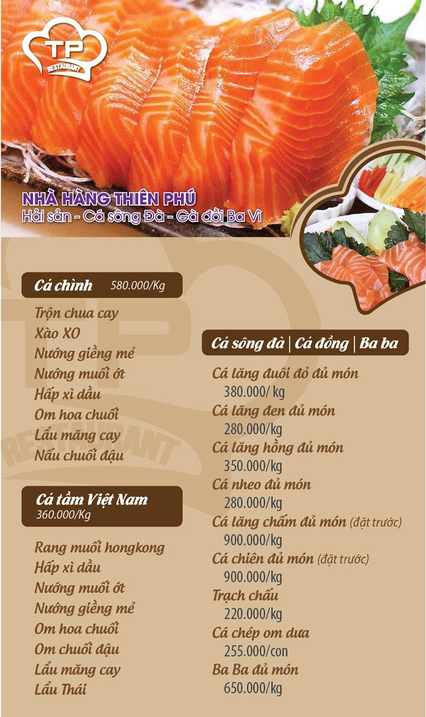 Menu Thiên Phú - KĐT Văn Phú 6
