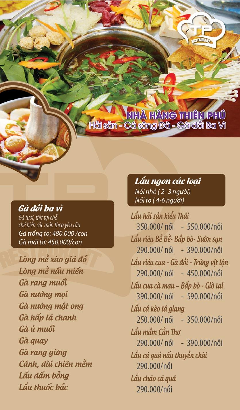 Menu Thiên Phú - KĐT Văn Phú 7