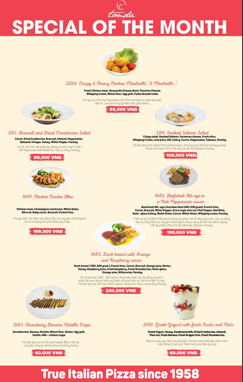 Menu Pizza Tonda - Vincom Thảo Điền 1