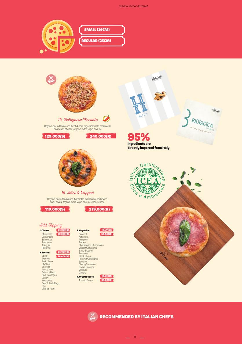Menu Pizza Tonda - Vincom Thảo Điền 5