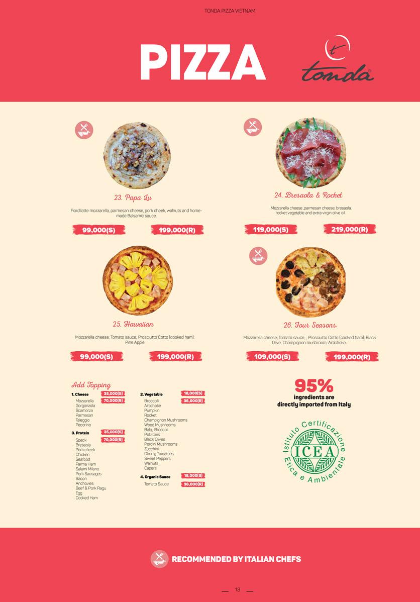 Menu Pizza Tonda - Vincom Thảo Điền 7