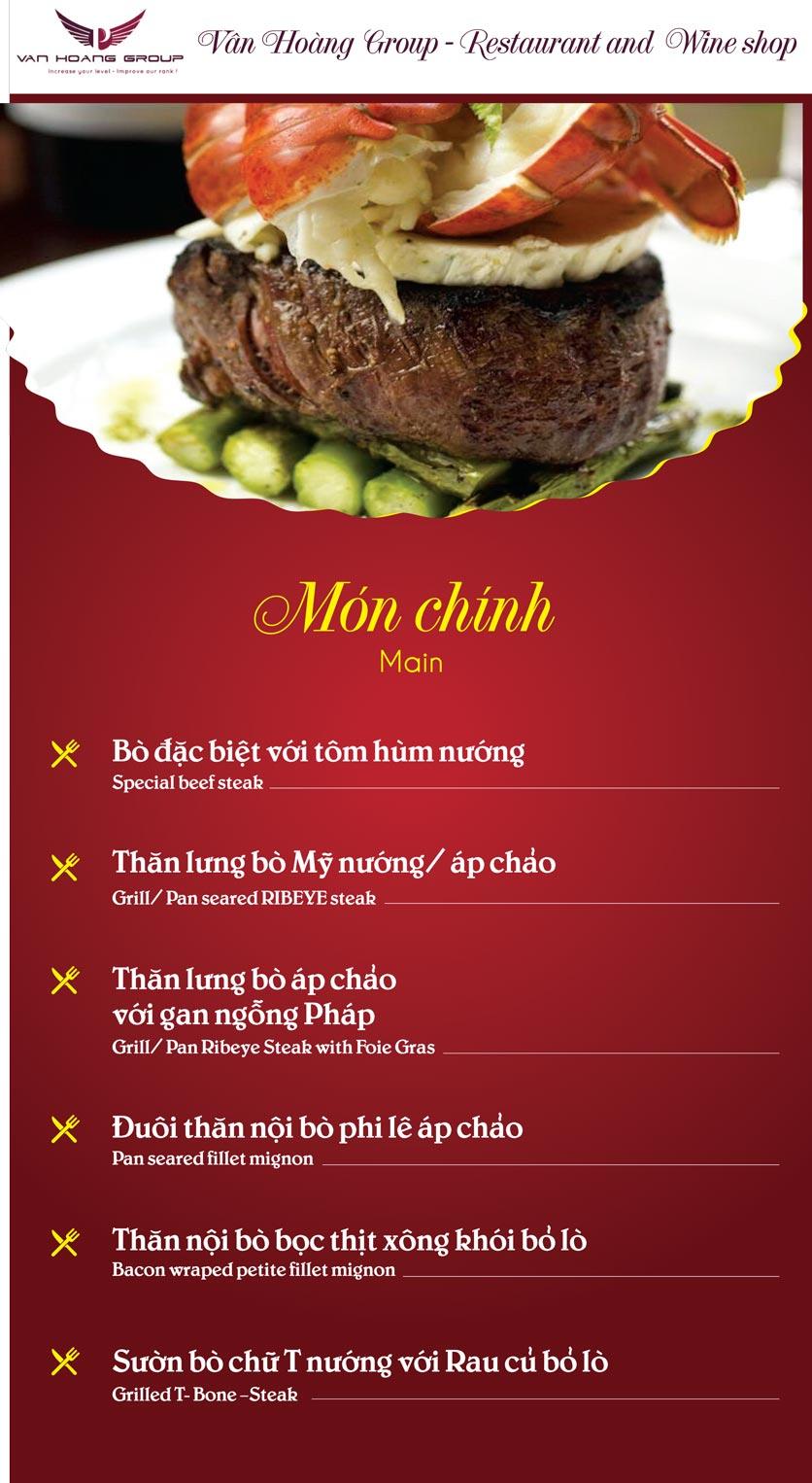 Menu Vân Hoàng Group – Restaurant & Wine Shop – Văn Quán  6