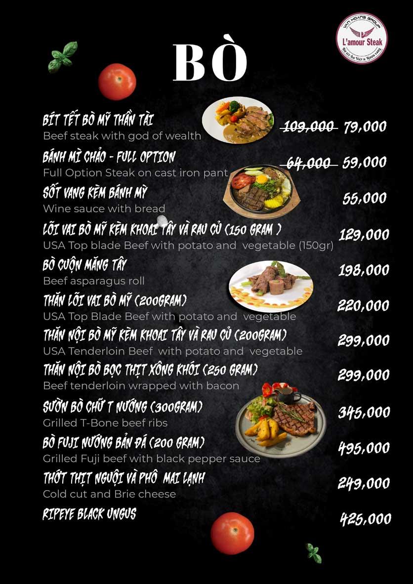 Menu VanHoangGroup - L'amour  Steak - Nam Cao 3