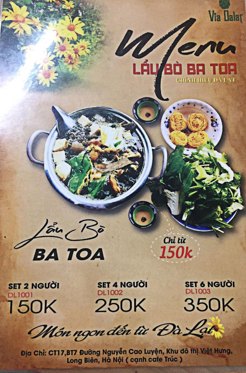 Menu Via Dalat - Lẩu Bò Ba Toa - KĐT Việt Hưng 1