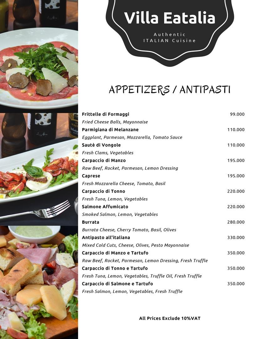 Menu Villa Eatalia - Italian Food - Quảng Bá  1