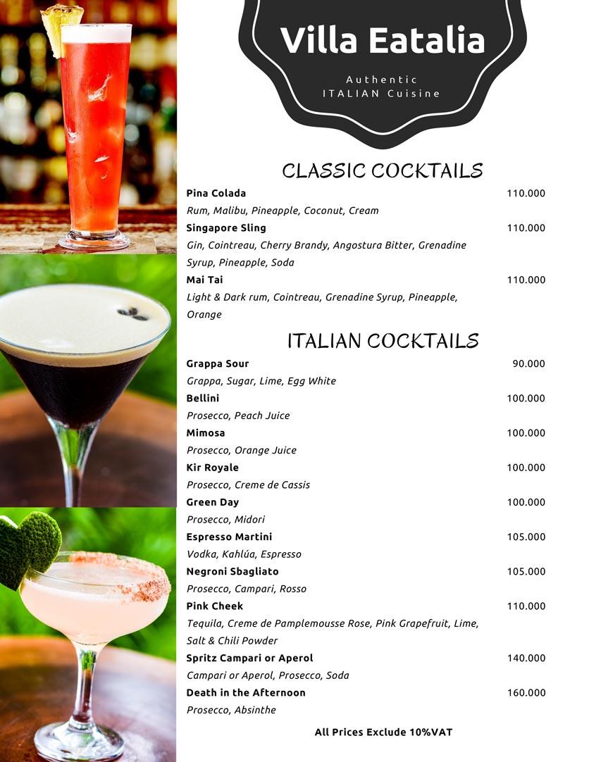 Menu Villa Eatalia - Italian Food - Quảng Bá  12