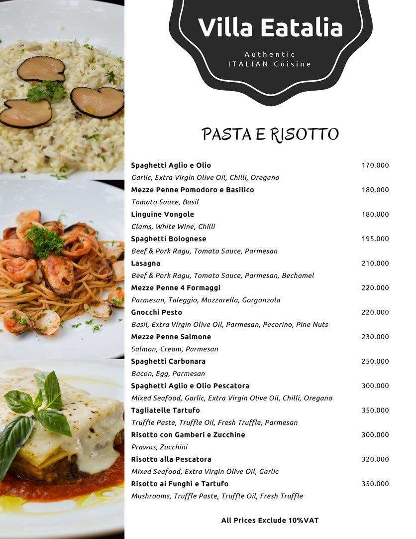 Menu Villa Eatalia - Italian Food - Quảng Bá  2