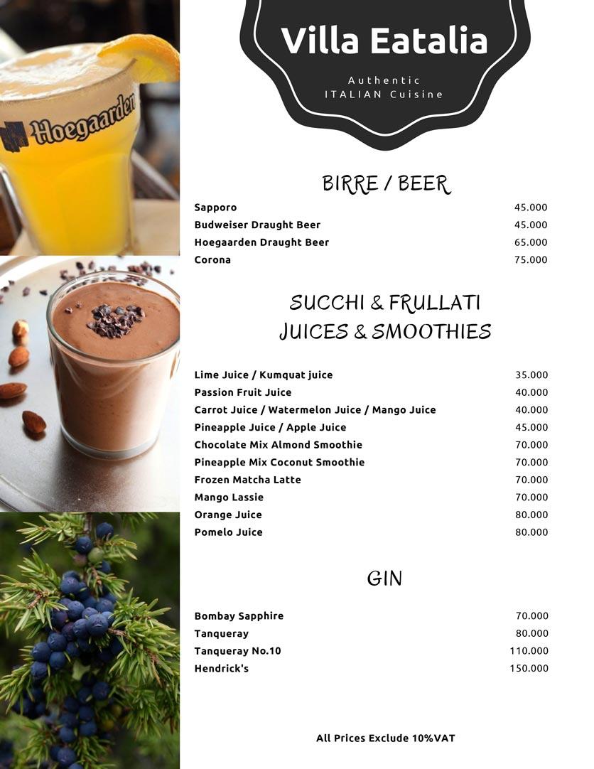 Menu Villa Eatalia - Italian Food - Quảng Bá  8