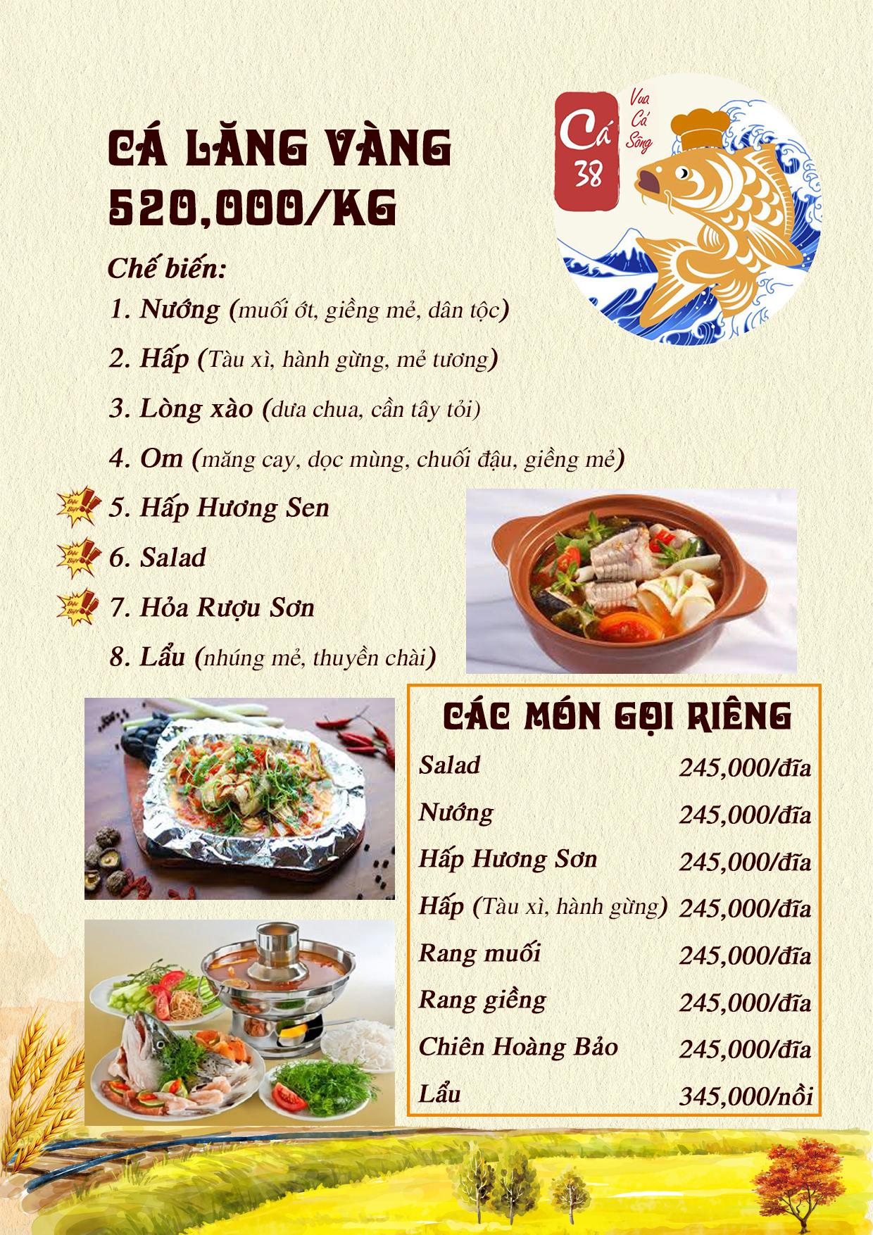 Menu Cá 38- Vua cá sông – 38 Trần Kim Xuyến  2