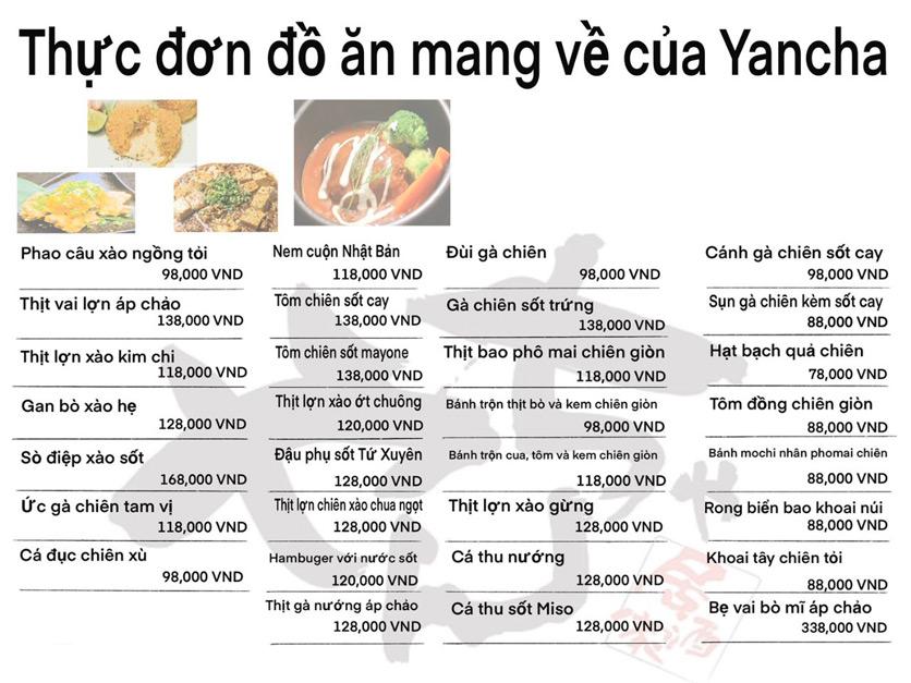 Menu Izakaya Yancha - Kim Mã 1