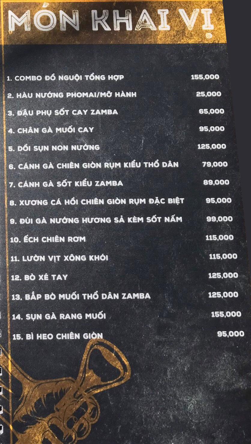 Menu  Zamba Beer & BBQ - Yên Lãng    8