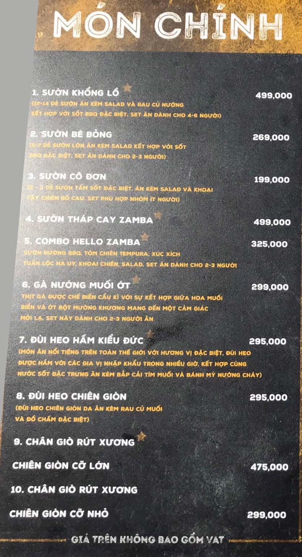 Menu Zamba Food Garden - Yên Lãng    9