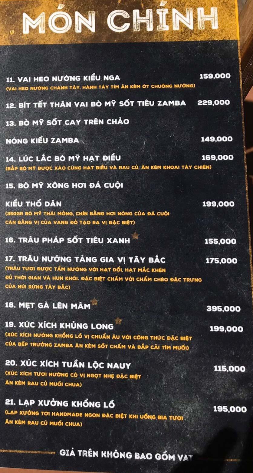 Menu  Zamba Beer & BBQ - Yên Lãng    10