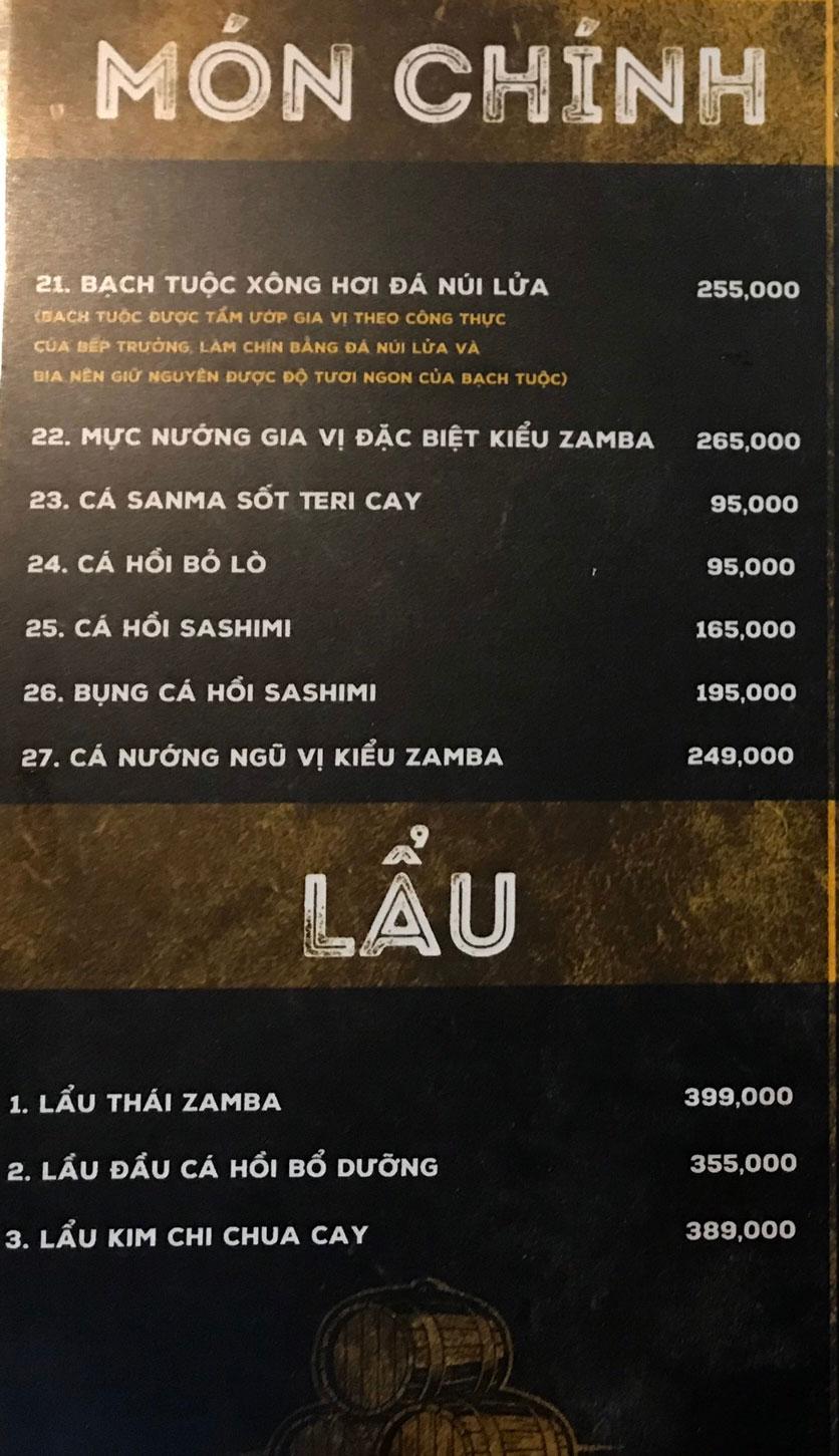 Menu  Zamba Beer & BBQ - Yên Lãng    5