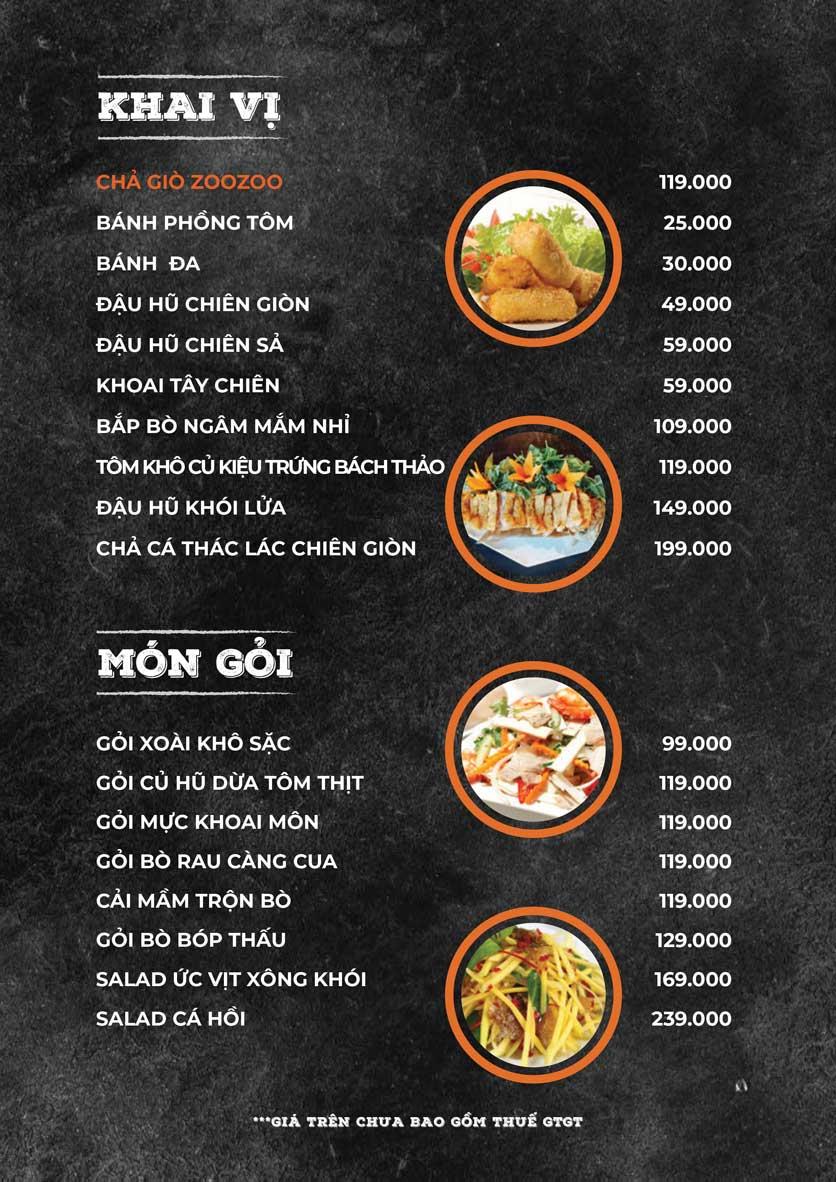 Menu ZooZoo - Phạm Văn Đồng 3