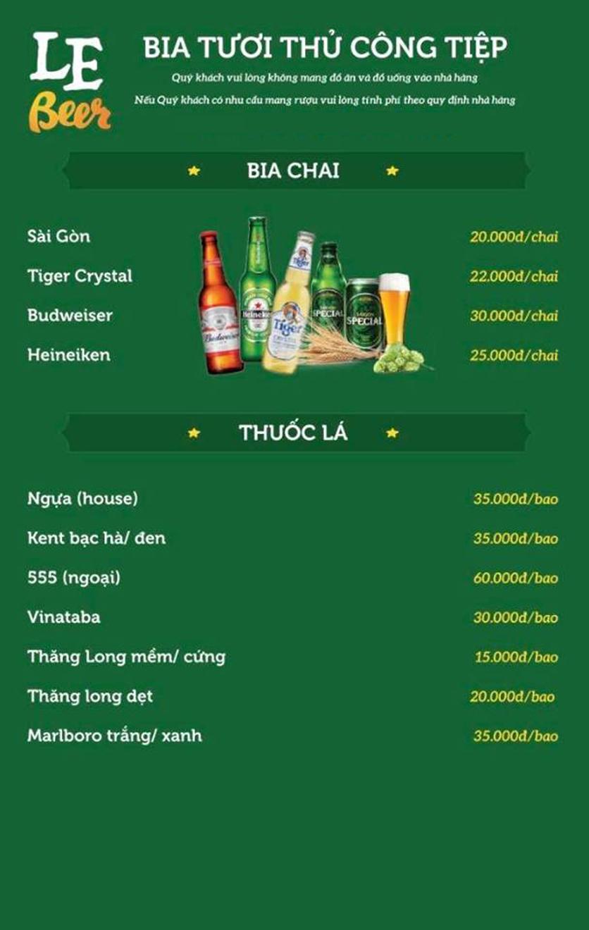 Menu Le Beer – Vũ Phạm Hàm  15
