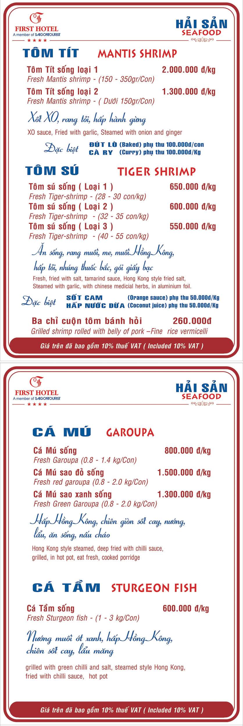 Menu Hoa Viên Đệ Nhất - Hoàng Việt 12