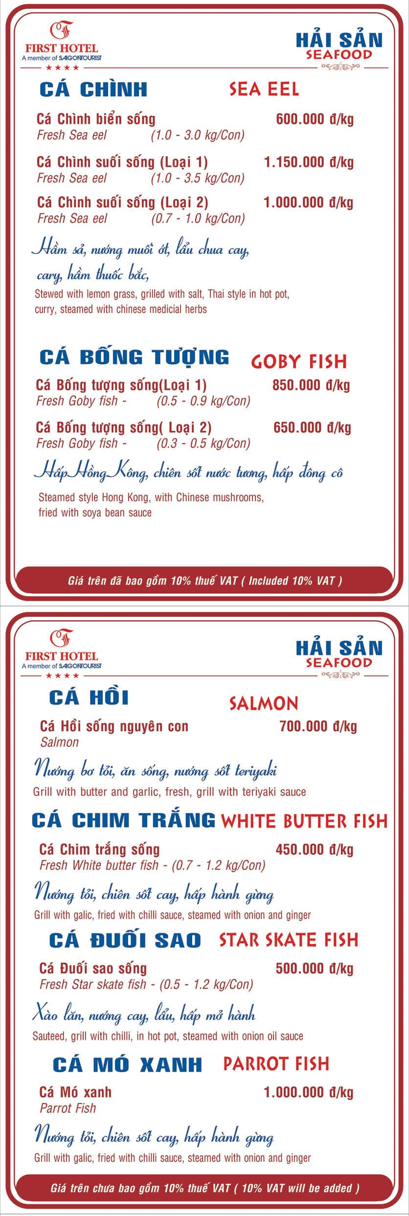 Menu Hoa Viên Đệ Nhất - Hoàng Việt 13