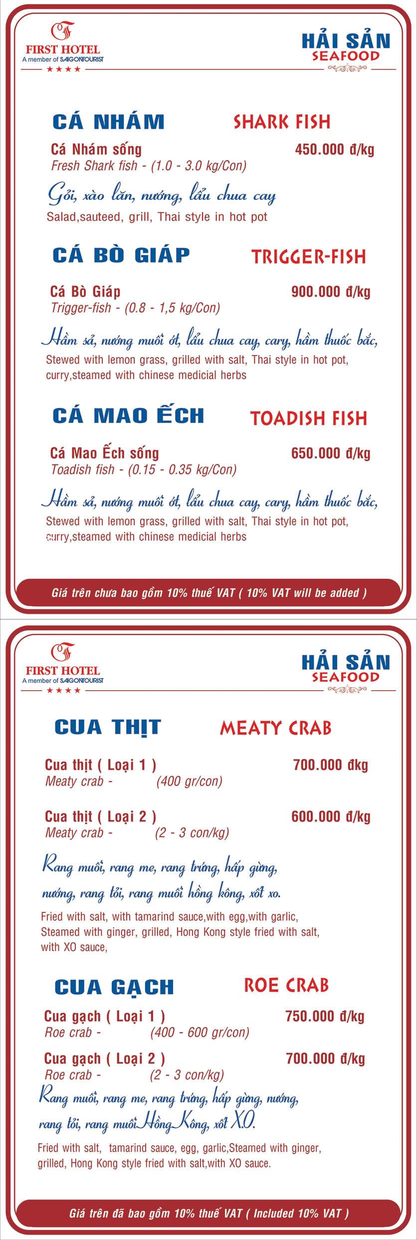 Menu Hoa Viên Đệ Nhất - Hoàng Việt 14