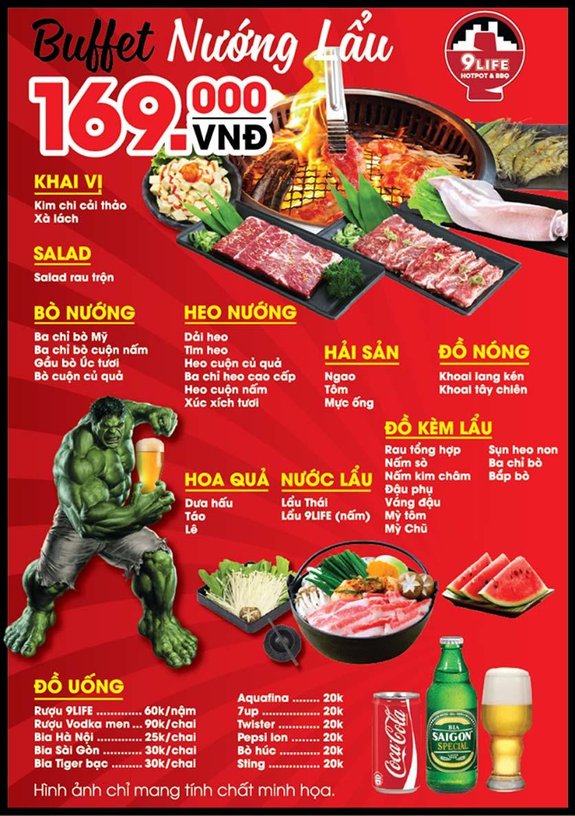 Menu 9Life Hotpot & BBQ – Trần Đại Nghĩa  2