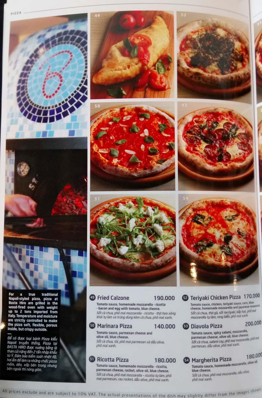 Menu Basta Hiro – Pizza & Pasta – Saigon Centre 1