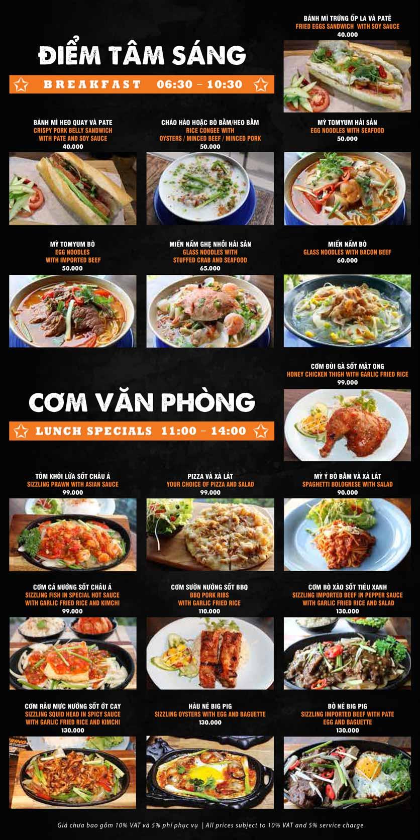 Menu Big Pig BBQ & Beer - Trường Sơn 3