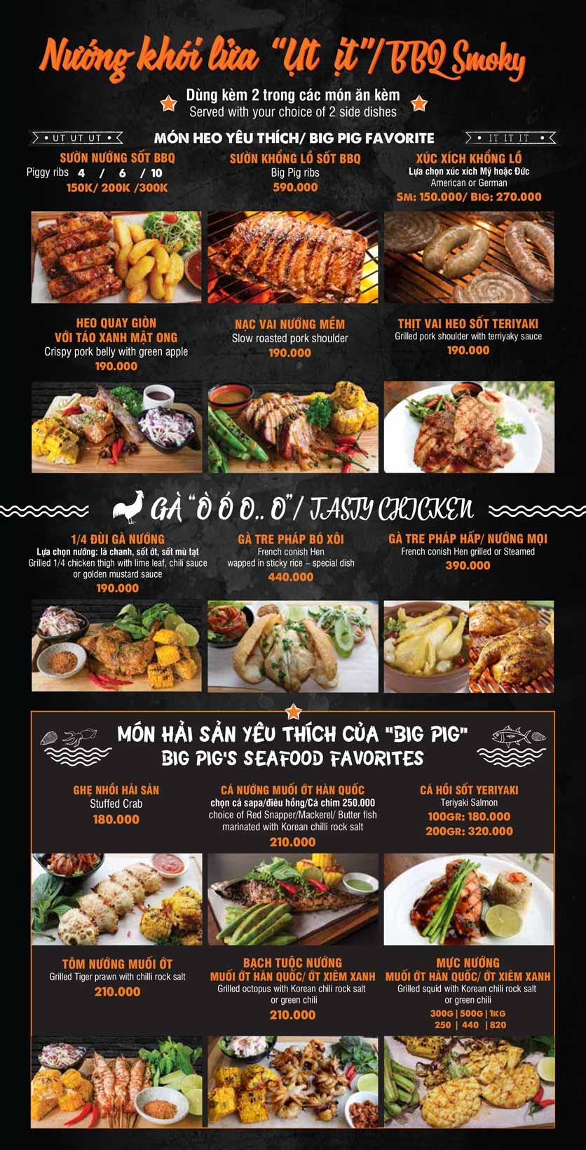 Menu Big Pig BBQ & Beer - Trường Sơn 7