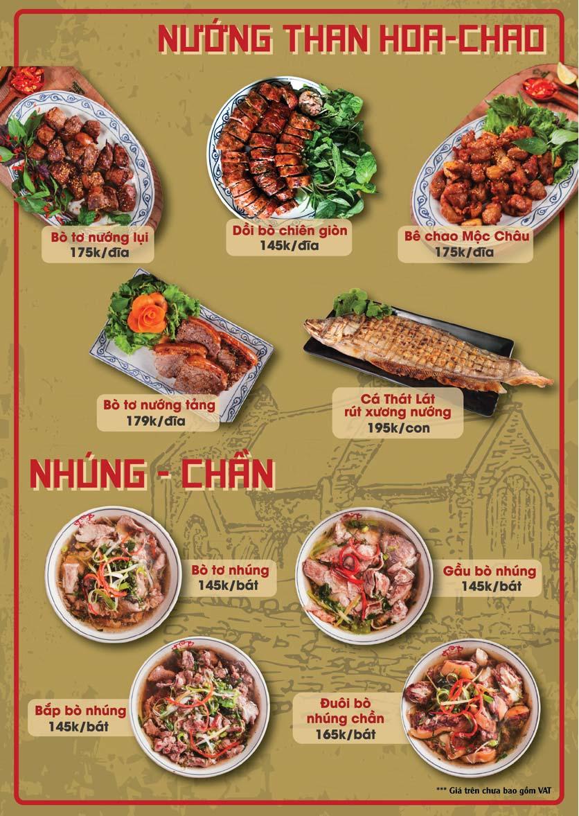 Menu Bò Tơ Quán Mộc - Thái Thịnh 2