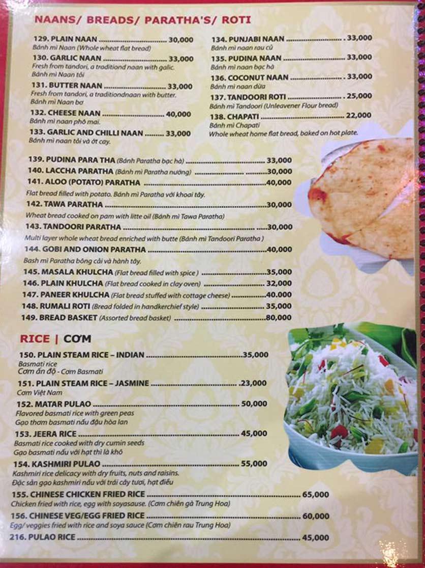 Menu Bollywood Indian Restaurant – Phú Mỹ Hưng   8