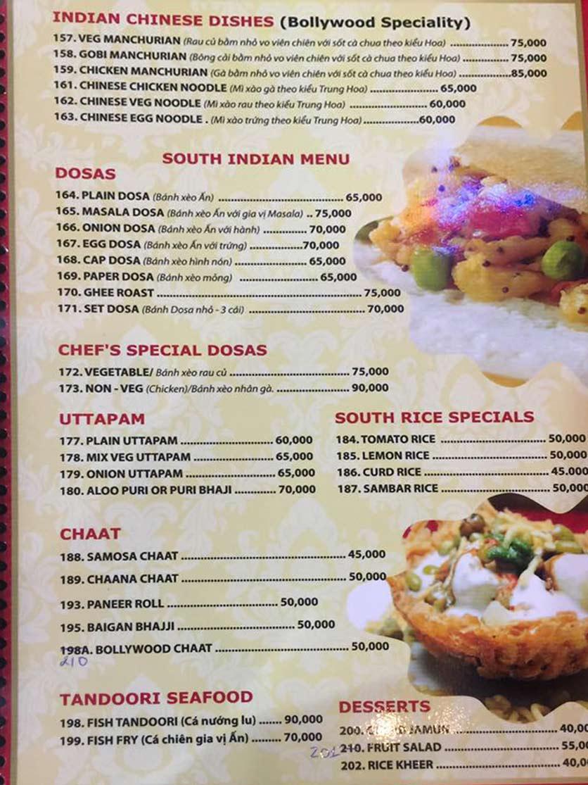 Menu Bollywood Indian Restaurant – Phú Mỹ Hưng   9