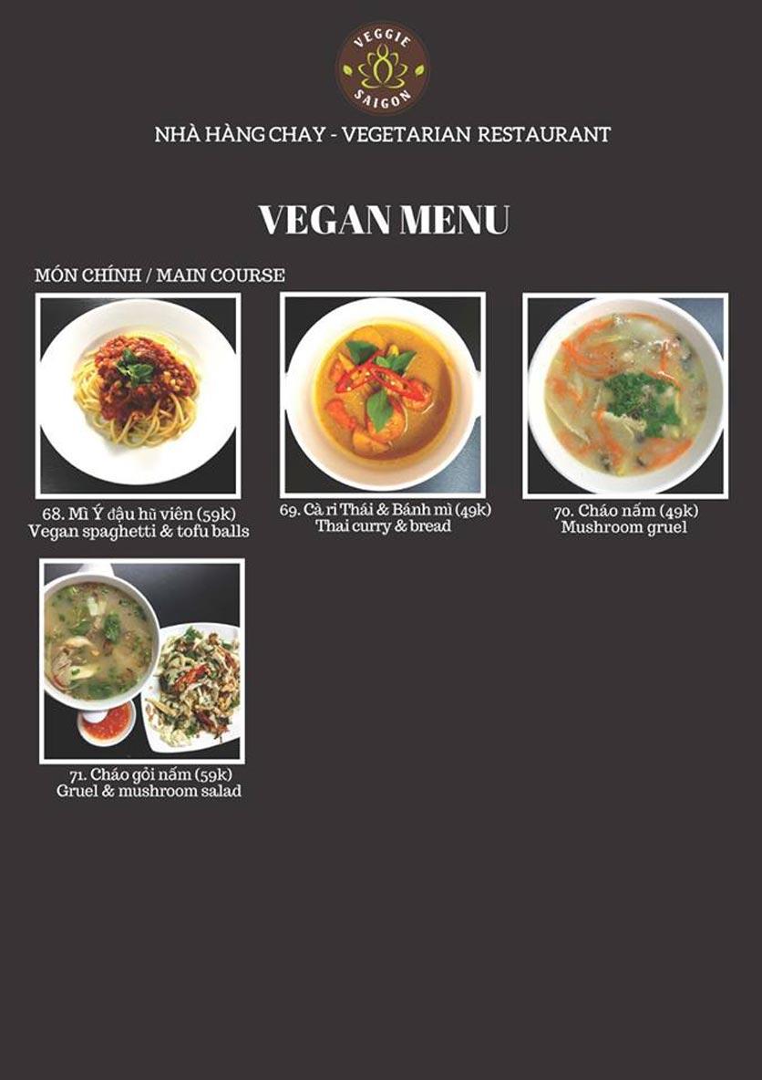 Menu Chay Veggie Saigon – Đề Thám 21