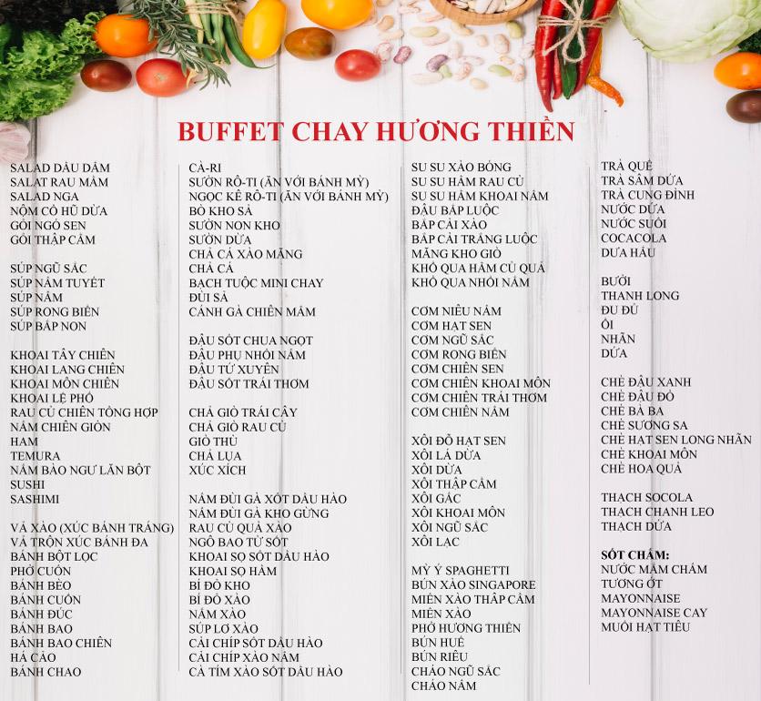 Menu Buffet Chay Hương Thiền - Xã Đàn 1