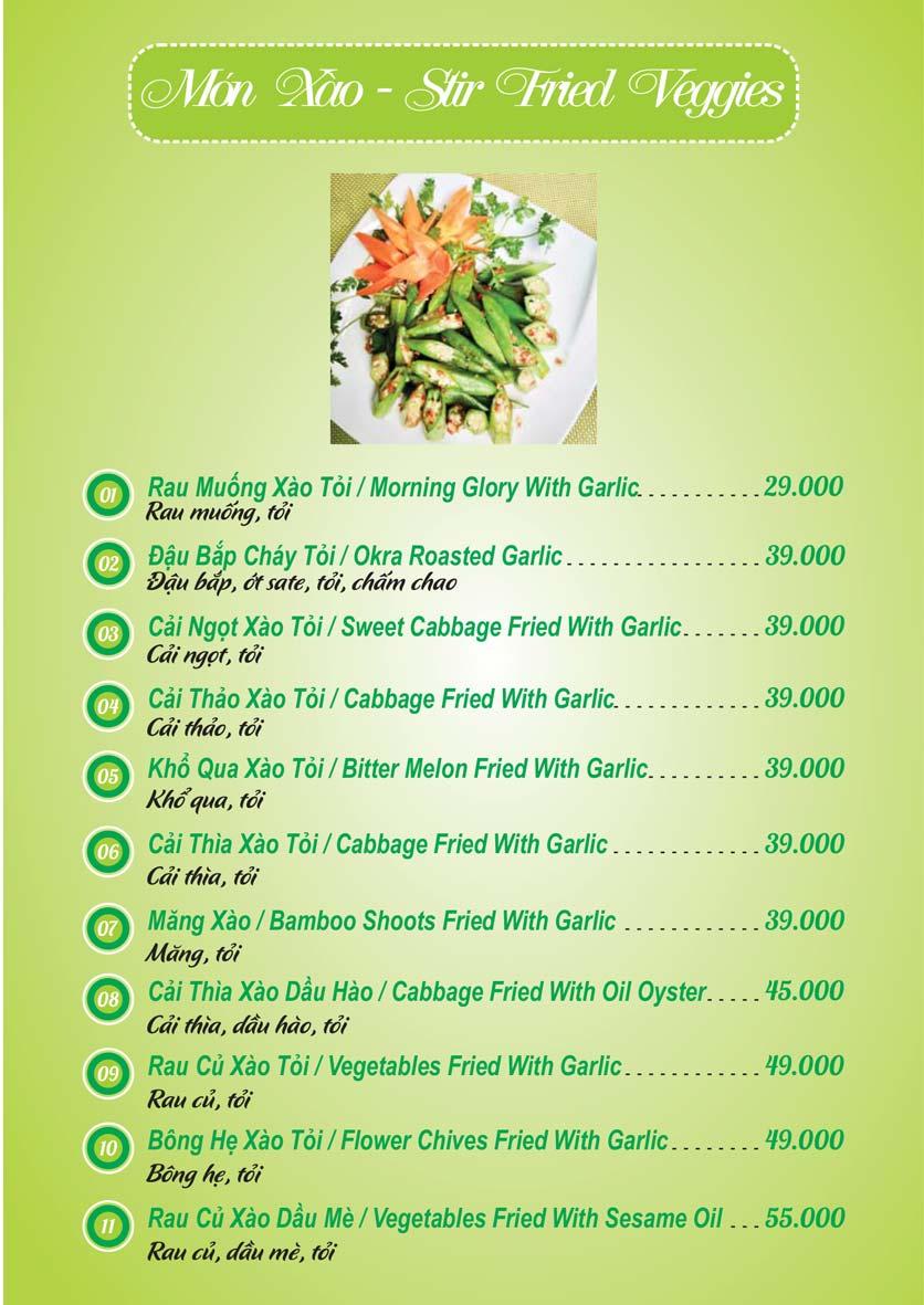 Menu Chay Mani - Hoa Mai 10