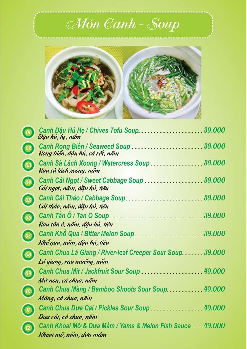 Menu Chay Mani - Hoa Mai 11