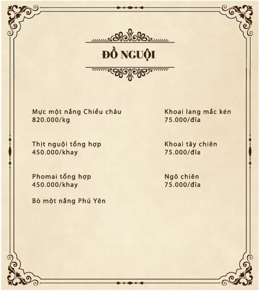 Menu Đại Lâm Mộc - Lê Văn Lương 1