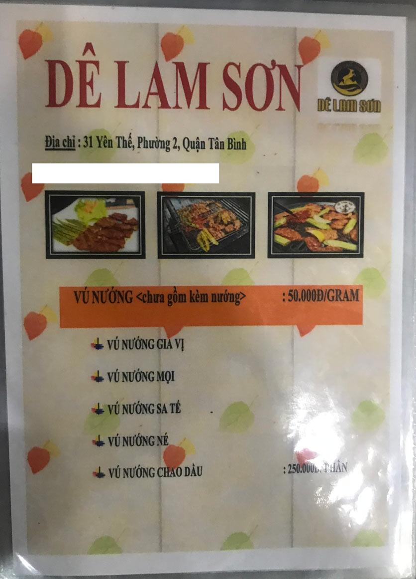 Menu Dê Lam Sơn - Yên Thế 1
