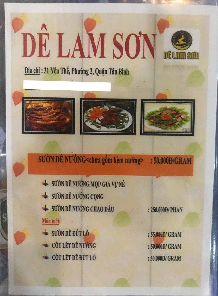 Menu Dê Lam Sơn - Yên Thế 2