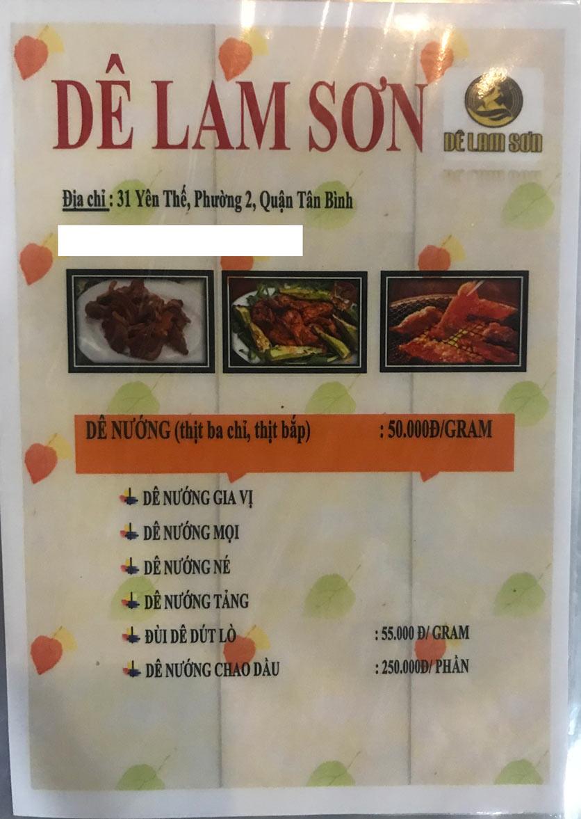 Menu Dê Lam Sơn - Yên Thế 3