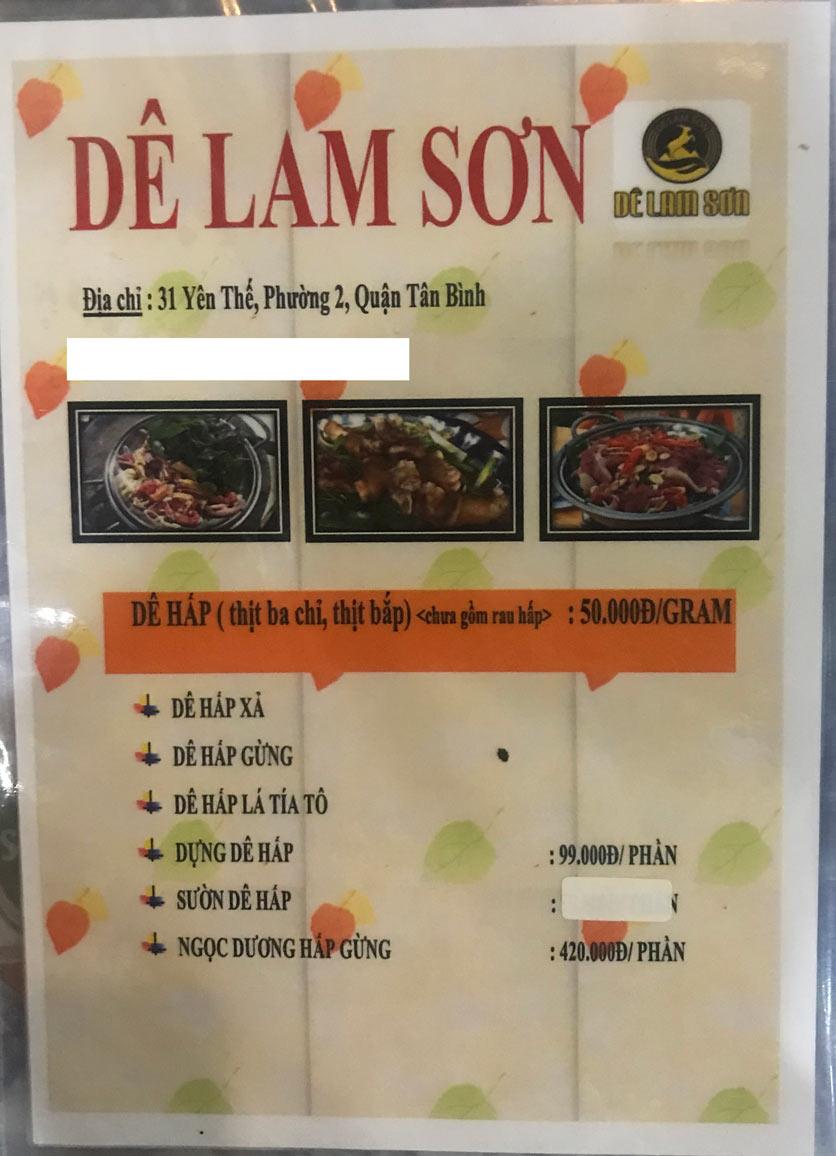 Menu Dê Lam Sơn - Yên Thế 4