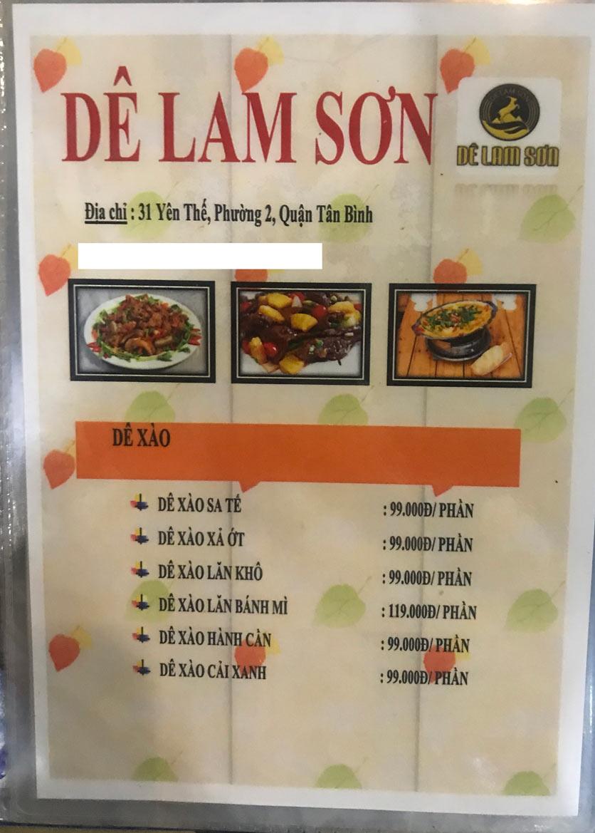Menu Dê Lam Sơn - Yên Thế 6