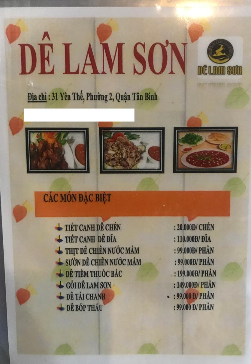 Menu Dê Lam Sơn - Yên Thế 7