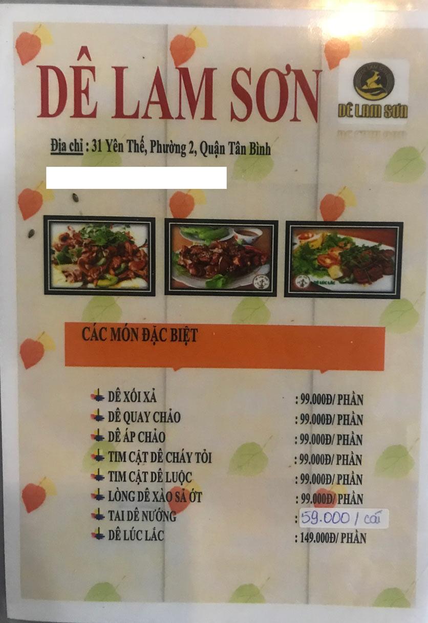 Menu Dê Lam Sơn - Yên Thế 9