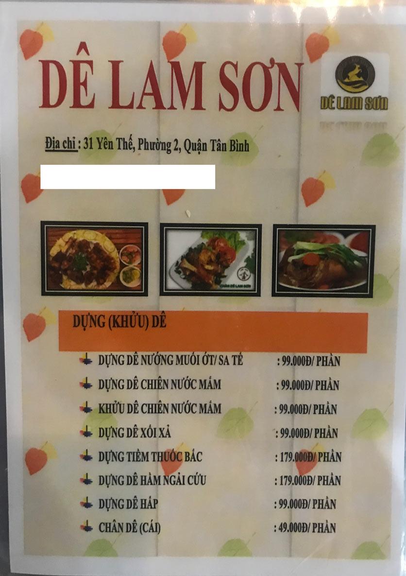 Menu Dê Lam Sơn - Yên Thế 11