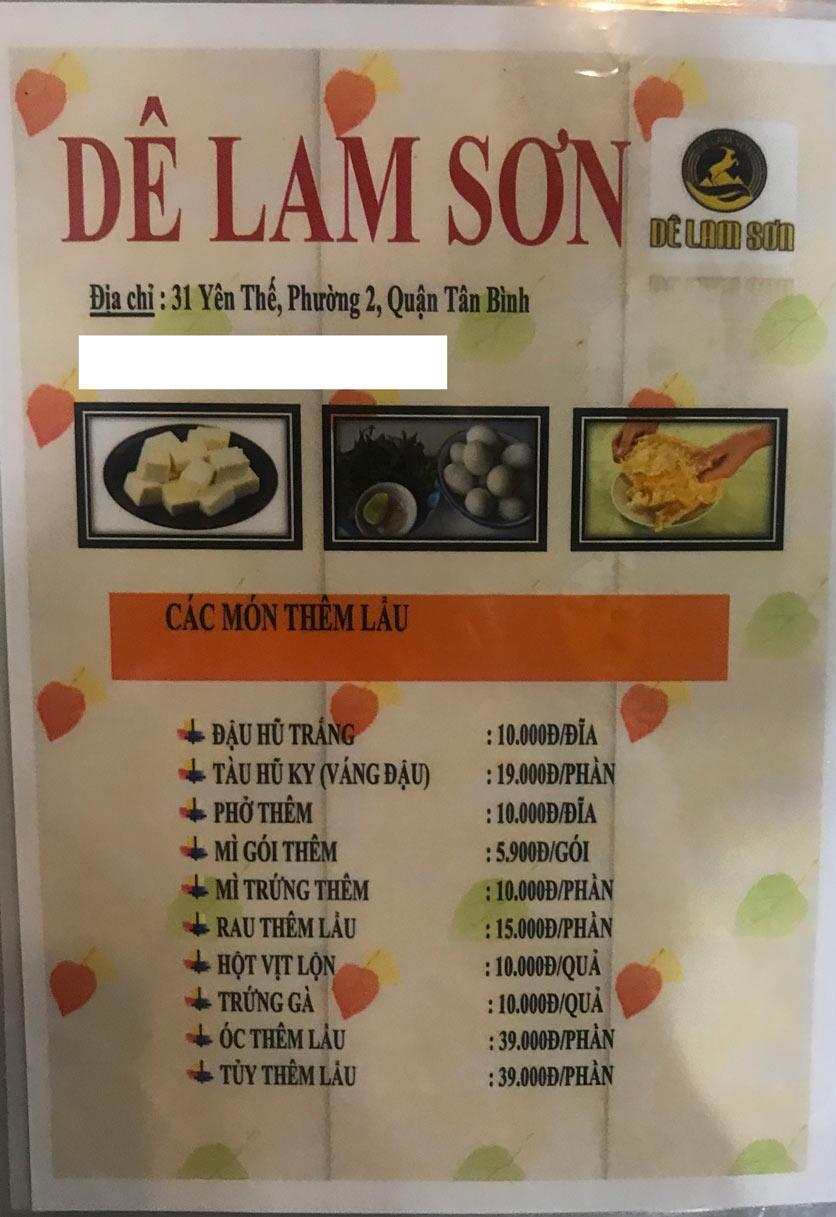 Menu Dê Lam Sơn - Yên Thế 14