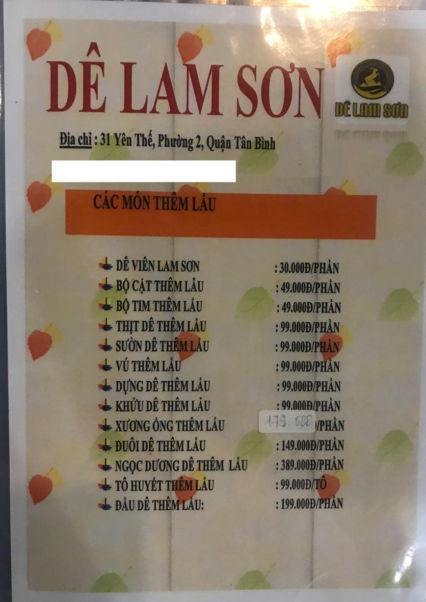 Menu Dê Lam Sơn - Yên Thế 15