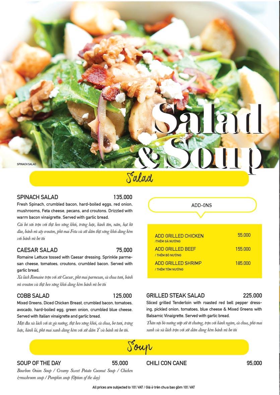 Menu The Diner V - Nguyễn Đình Chiểu 9