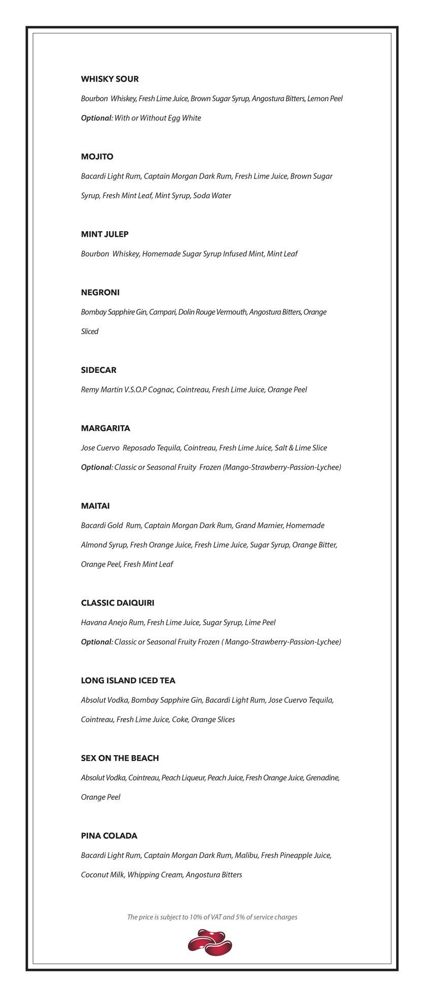 Menu Red Bean Central Restaurant – Cầu Gỗ 2