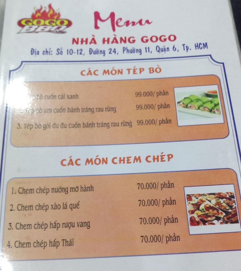 Menu GoGo BBQ – Đường 24 3